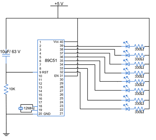 LED Blink Circuit Diagram using AT89C51