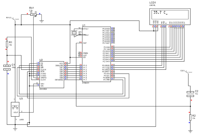 Simulation of AT89C51 with LM35 and LCD using ADC0804