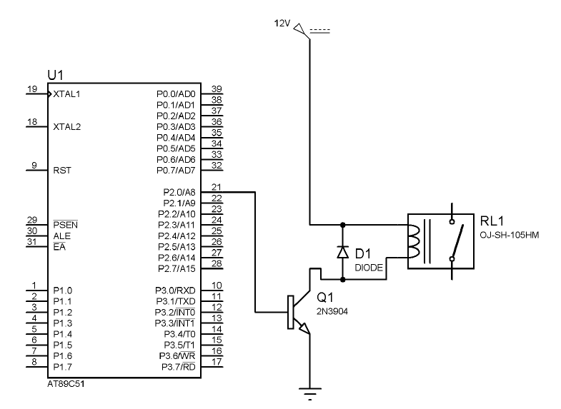 Relay drive with AT89C51 using 2N3904