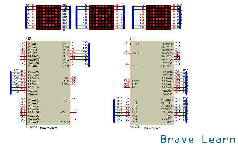 "Simulation of Scrolling ""BRAVELEARN"" with 16x8 Dot Matrix"