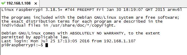 Raspberry Pi SSH connection