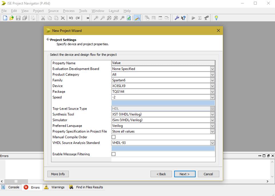 Verilog Simulation and FPGA setup using Xilinx Project